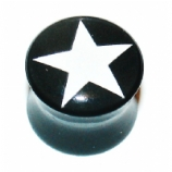 White Star Black Acrylic Saddle Ear Plug 6mm - 19mm