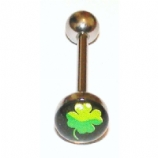 Green Four Leaf Clover Logo Tongue Piercing Bar