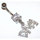 'Diva' Slogan Crystal Dangle Belly Piercing Bar