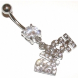 'Bitch' Slogan Crystal Dangle Belly Piercing Bar