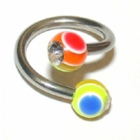 Crystal Gem Rainbow UV Ball Belly Piercing Spiral