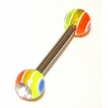 Crystal Gem Rainbow UV Ball Double Jewelled Barbell