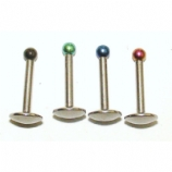 Internally Threaded Coloured Ball Micro Labret Lip Stud - 1.2mm