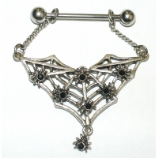 Spiders & Web Gothic Crystal Dangle Nipple Bar
