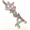 Initial Letter Star Crystal Dangle Belly Piercing Bar