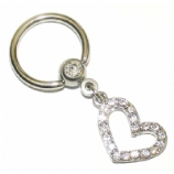 Crystal Diamante Heart Dangle Ball Closure BCR Nipple Ring