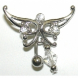 Butterfly Tattoo Tribal Dangle Reverse Belly Piercing Bar