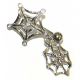 Spider & Web Dangle Reverse Belly Piercing Bar