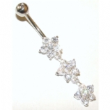 Triple Flower Crystal Dangle Sterling Silver Belly Piercing Bar 8mm - 12mm