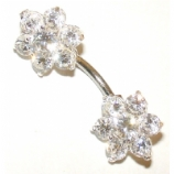 Double Ended Large Flower Sterling Silver Belly Piercing Bar 8mm - 12mm