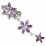Large Triple Flower Sterling Silver Belly Piercing Bar 8mm - 12mm