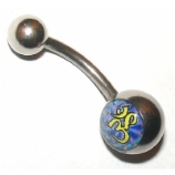 Om Symbol Logo Belly Piercing Bar