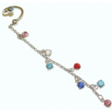 Multicolour Crystals Long Dangle Belly Piercing Spiral