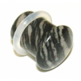 Black Marble Stone Single Flared Bullet Plug 3mm - 14mm