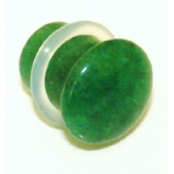 Green Jade Stone Single Flared Bullet Plug 3mm - 14mm