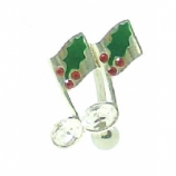 Music Note Holly Berries Christmas Reverse Belly Piercing Bar