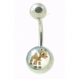 Rudolph Reindeer Logo Christmas Belly Piercing Bar
