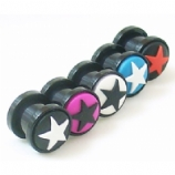 3D Star Acrylic Screw On Two-Piece Flesh Tunnel Plug 3mm - 24mm