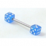 Double Dice Barbell Nipple Piercing Bar