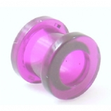 Purple Acrylic Screw On Flesh Tunnel 3mm - 24mm
