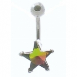 Star Shaped Crystal Sterling Silver Belly Piercing Bar 8mm - 12mm