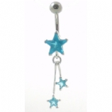 Shooting Star Crystal Dangle Sterling Silver Belly Piercing Bar 8mm - 12mm