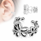 Flower & Crystal Clip On Fake Helix Ear Cuff