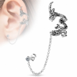 Dragon Ear Cuff Lobe Piercing Chain - Only One Standard Ear Piercing Required