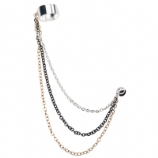 Three Colour Chains Ear Cuff Lobe Piercing Chain - Only One Standard Ear Piercing Required