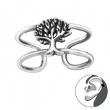 Tree Of Life Band Wrap Clip On Sterling Silver Helix Ear Cuff