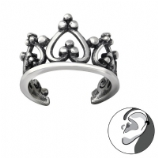 Crown Tiara Band Wrap Clip On Sterling Silver Helix Ear Cuff