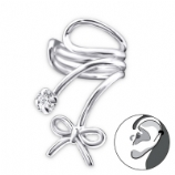 Bow & Crystal Swirl Clip On Sterling Silver Helix Ear Cuff