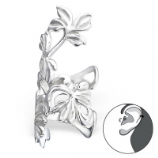 Ornate Leaf Vine Clip On Sterling Silver Helix Ear Cuff
