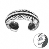 Feather Band Wrap Clip On Sterling Silver Helix Ear Cuff