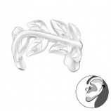 Polished Leaf Vine Band Wrap Clip On Sterling Silver Helix Ear Cuff