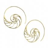Waiver Casted Brass Spiral Ear Rings - Pair
