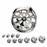 Silver Mandala Double Flared Screw Fit Tunnel