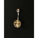 Leopard Print Fimo Belly Bar with Amber Crystal Ball