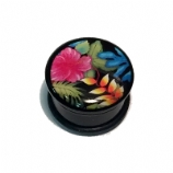 Colourful Flowers Single Flared Plug 4mm - 25mm