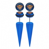 Superman Logo Licensed Official Taper Fake Plugs (Pair)