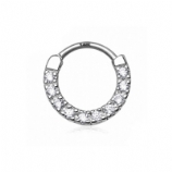 Crystal Row 14ct White Gold Septum Clicker Hinged Ring