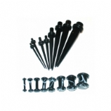 Black Taper & Plugs Stretching Kit 1.6mm - 10mm
