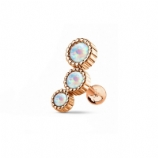 Triple Round Grooved Set White Opal Tragus Bar