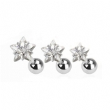 Triple Helix Prong Stars - Set of 3 Crystal 1.2mm Barbells