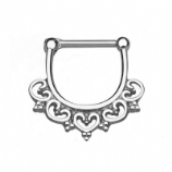 Heart Filigree Hinged Septum Straight Bar Clicker - Made Entirely From Surgical Steel
