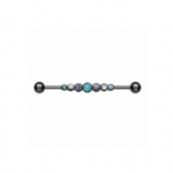Blackline Purple & Teal Crystal Row Scaffold Industrial Barbell