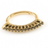 Beaded Fan Gold Steel Hinged Segment Ring