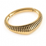 Striped Shield Gold Steel Hinged Segment Ring