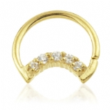 Crystal Crescent Moon Gold PVD Seam Daith Ring