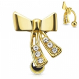 Gold Plated Bow Ribbon Reverse Belly Bar